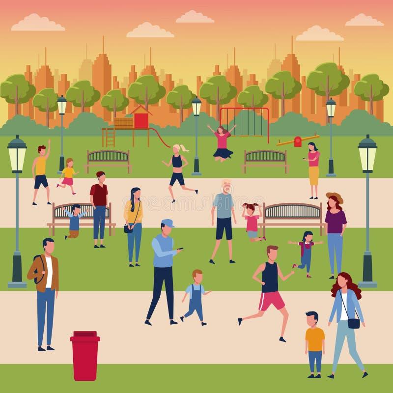 Famílias no parque ilustração royalty free