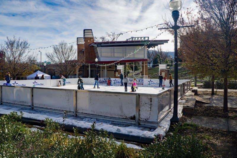 Famílias que apreciam um dia da patinagem no gelo fotografia de stock