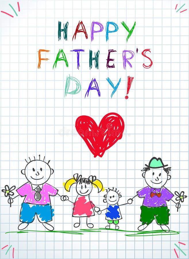 Fam?lia de Lgbt Pai feliz Day Kids Drawing dois homens ilustração do vetor