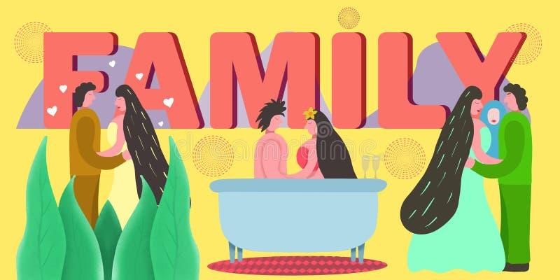 Fam?lia feliz junto Conceito do amor Família, grande projeto para algumas finalidades Conceito de família, encontrando jovens, ca ilustração stock