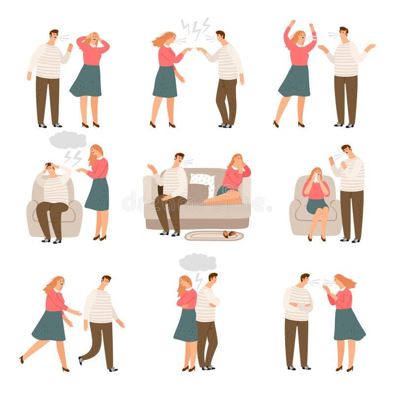Fam?lia infeliz Marido e esposa ou pares de povos durante caráteres do vetor do conflito ilustração royalty free