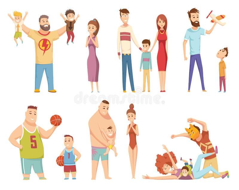 Fam?lia nova feliz Paizinho, mamã e filho junto Pai e seu filho novo que jogam com brinquedo Família feliz que gesticula com ilustração do vetor