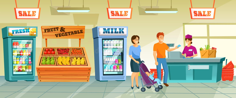 A fam?lia nova perto do contador de s do caixa paga pelos bens comprados ilustração stock