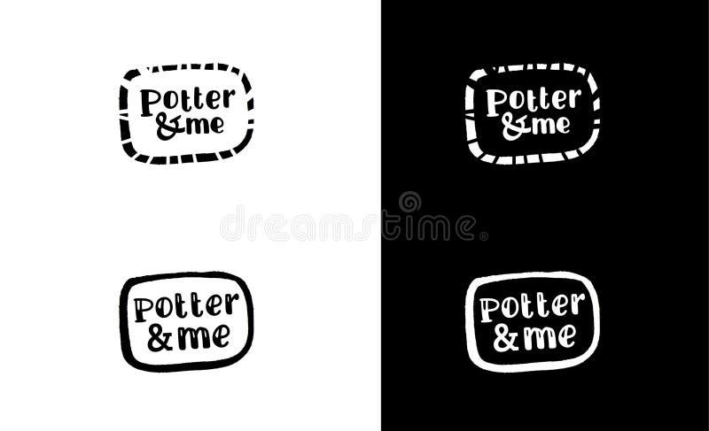 Fama del ½ de FunnÐ patern Logotipo negro de la tinta de la caligrafía El rastro de las tazas Cepillo del japonés Mancha blanca / imagen de archivo