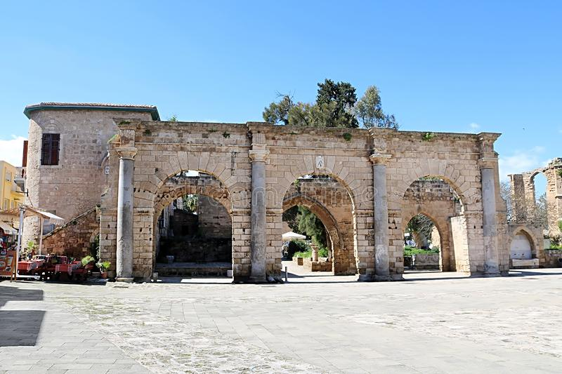 View of historical Venetian Palace Ruins in Famagusta, Cyprus. Europe royalty free stock photography