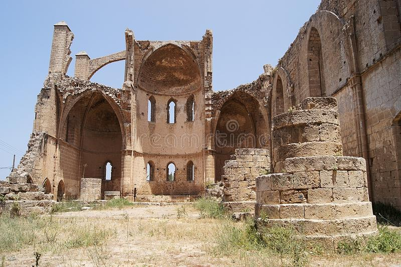 Famagusta Cyprus - Saint George of the Greeks. The interior ruin of Saint George of the Greeks (Hagios Giorgios) in Famagusta, Northern Cyprus stock image