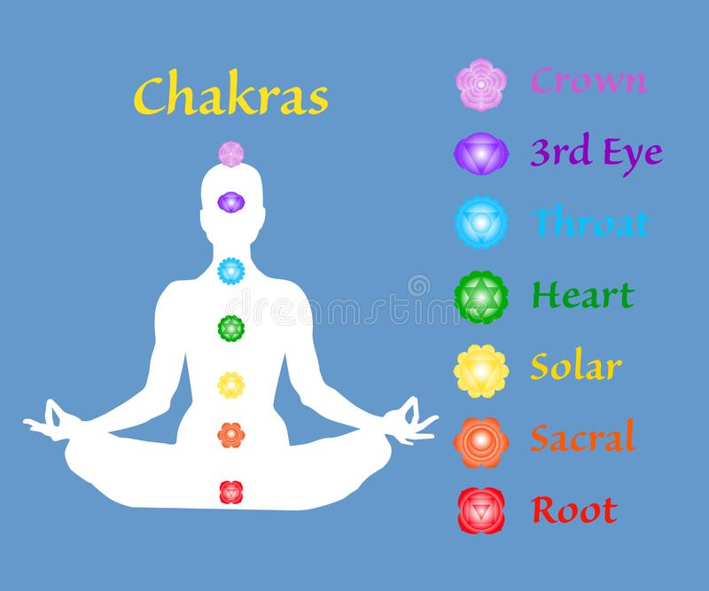Famale body in lotus yoga asana with seven chakras on blue background. Root, Sacral, Solar, Heart, Throat, 3rd Eye, Crown chakras. stock illustration