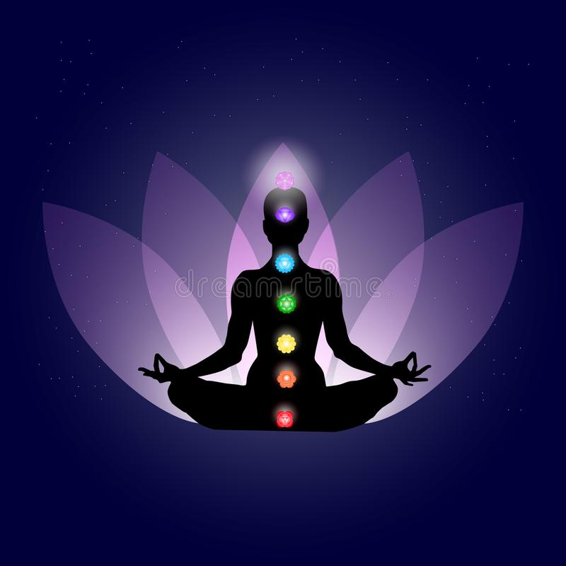 Famale body in yoga assana with seven chakras in shining neon colors on gently purple lotus petals and dark blue space with stars stock illustration