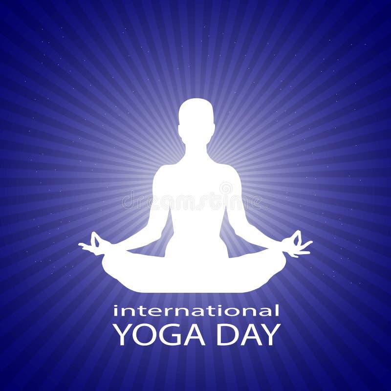 Famale o cuerpo de la persona en asana del loto de la yoga en rayos en fondo estrellado azul brillante del espacio Silueta blanca stock de ilustración