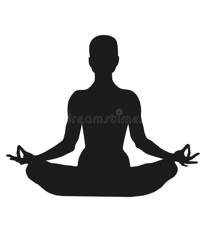 Famale oder Personenkörper in Yogalotos asana lokalisiert auf weißem Hintergrund Schwarzes Schattenbild einer Frau in einer Lotos lizenzfreie abbildung