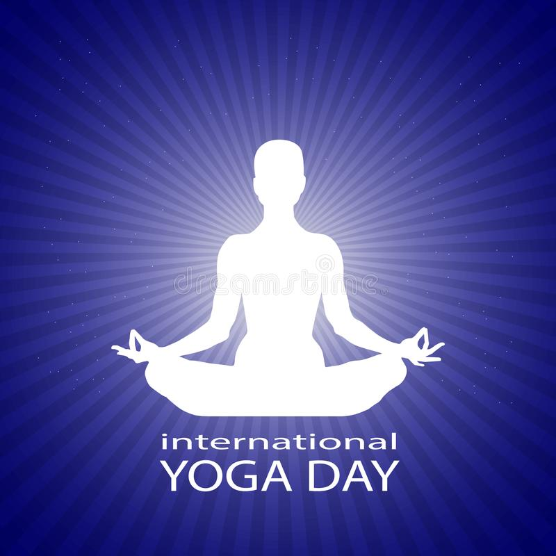 Famale or person body in yoga lotus asana in rays on bright blue starry space background. White silhouette of a woman in. A lotus pose. International yoga day stock illustration