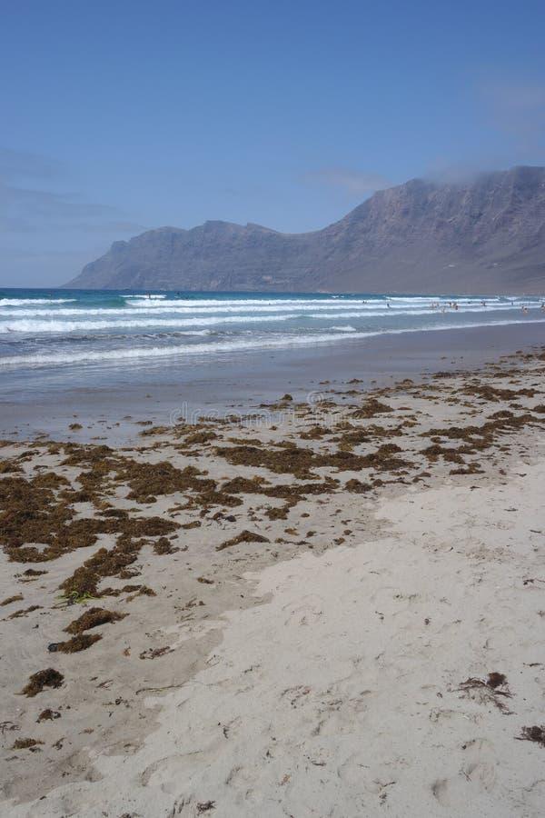 Famara海滩,兰萨罗特岛, canarias海岛 免版税库存照片