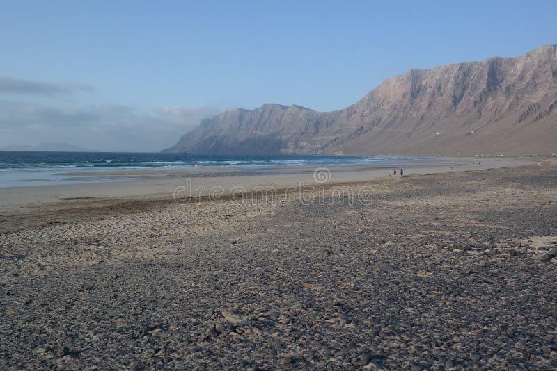 Famara海滩,兰萨罗特岛, canarias海岛 库存照片