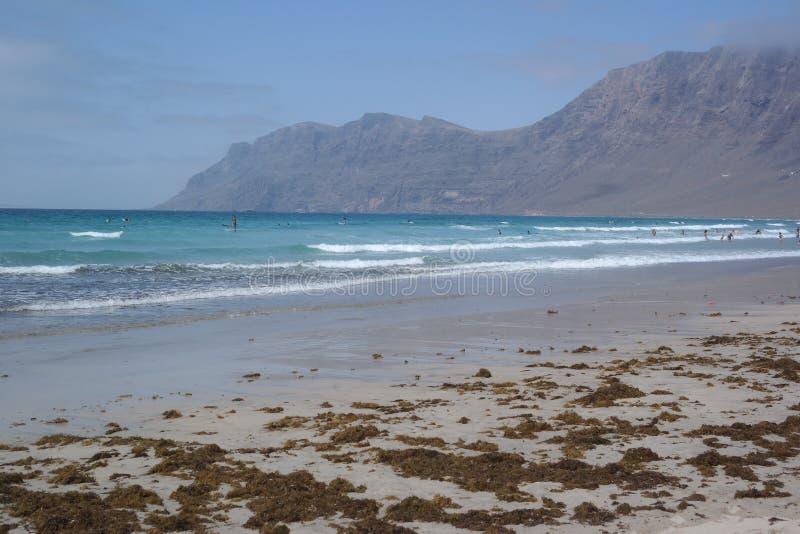 Famara beach, lanzarote, canarias island stock photo