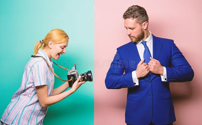 Fame and success. Businessman enjoy star moment. Photographer taking photo successful businessman. Paparazzi concept royalty free stock photos