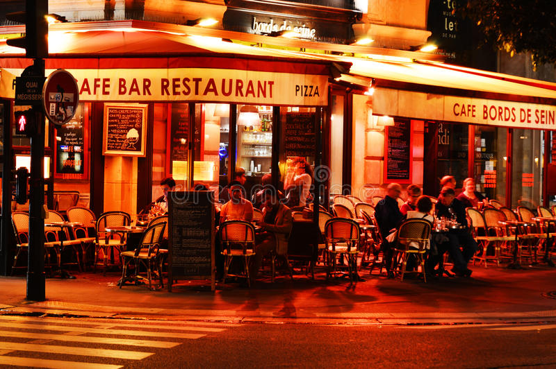 Famed for its nightlife Paris has about 40 000 restaurants royalty free stock photo