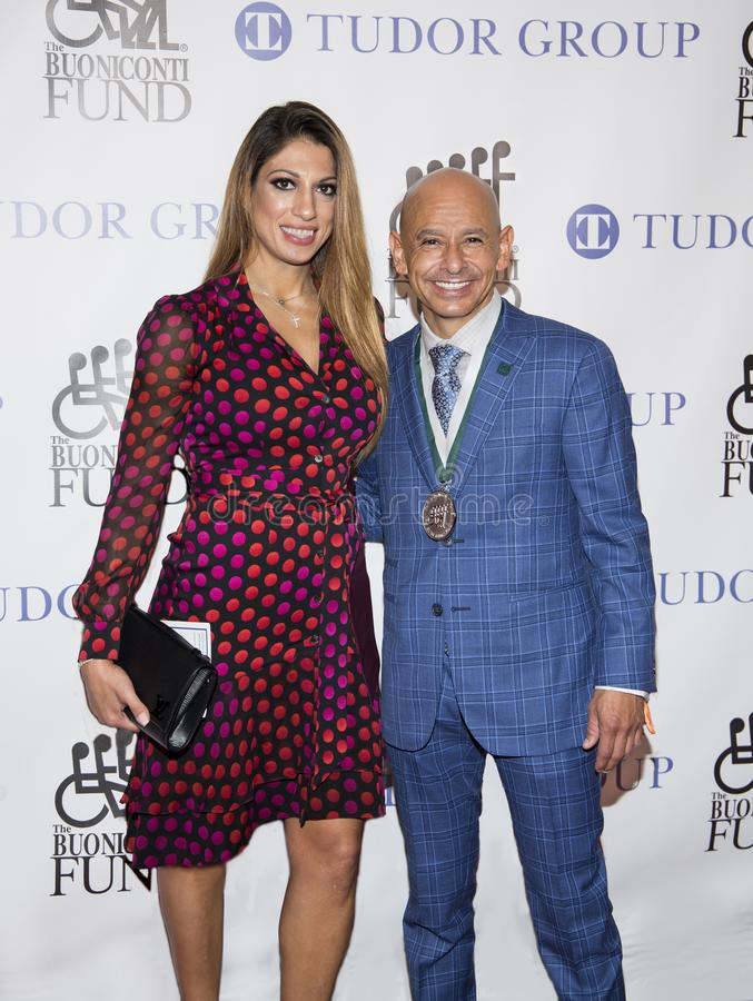 Mike Smith. Famed jockey Mike Smith is joined by Cynthia Naanouh at the 33rd Annual Great Sports Legends Dinner at the Hilton Midtown hotel in Manhattan on stock image