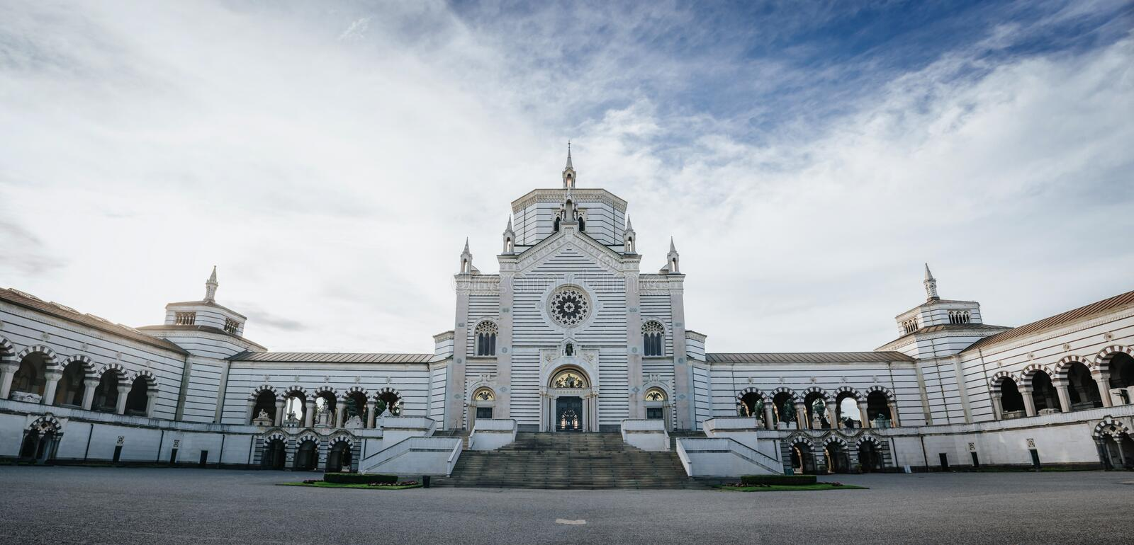 Famedio chapel facade at the Monumental Cemetery (Cimitero Monumentale), one of the main landmarks and tourist attractions af. Milan, Italy. Scenic horizontal stock image