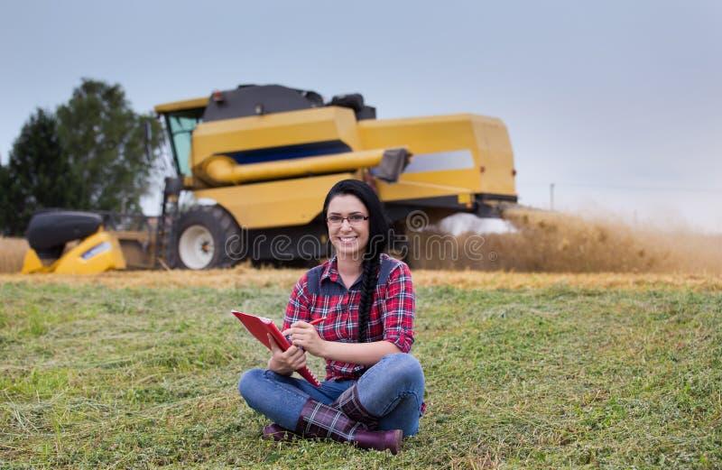 Famer girl in the field stock photos