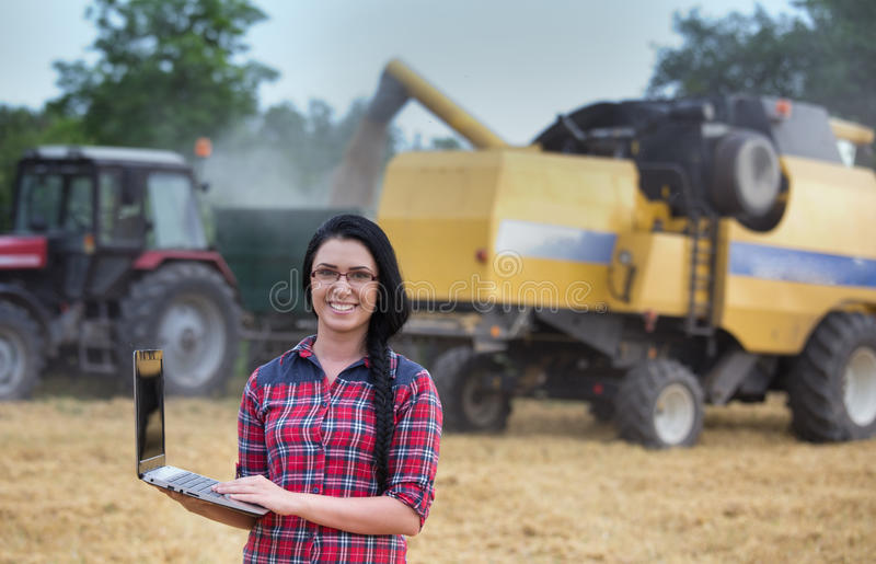Famermeisje met laptop op het gebied tijdens oogst stock afbeeldingen