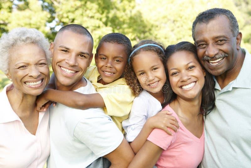Famiglia afroamericana della multi generazione che si rilassa nel parco fotografia stock