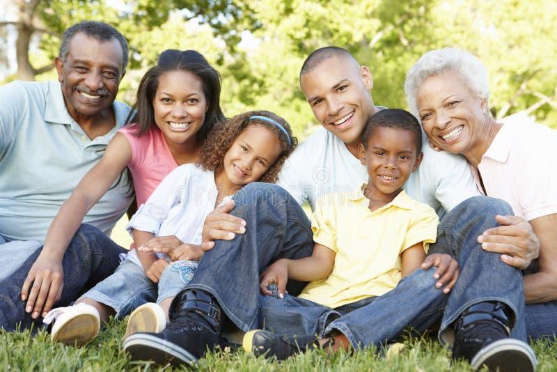 Famiglia afroamericana della multi generazione che si rilassa nel parco fotografie stock