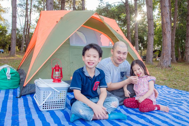 Famiglia al campeggio immagini stock libere da diritti