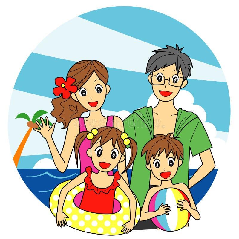 Famiglia al mare royalty illustrazione gratis