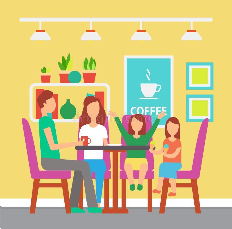 Famiglia al tè bevente del caffè o del caffè alla Tabella illustrazione vettoriale