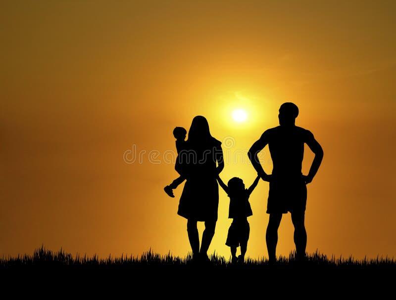 Famiglia al tramonto 4 immagini stock