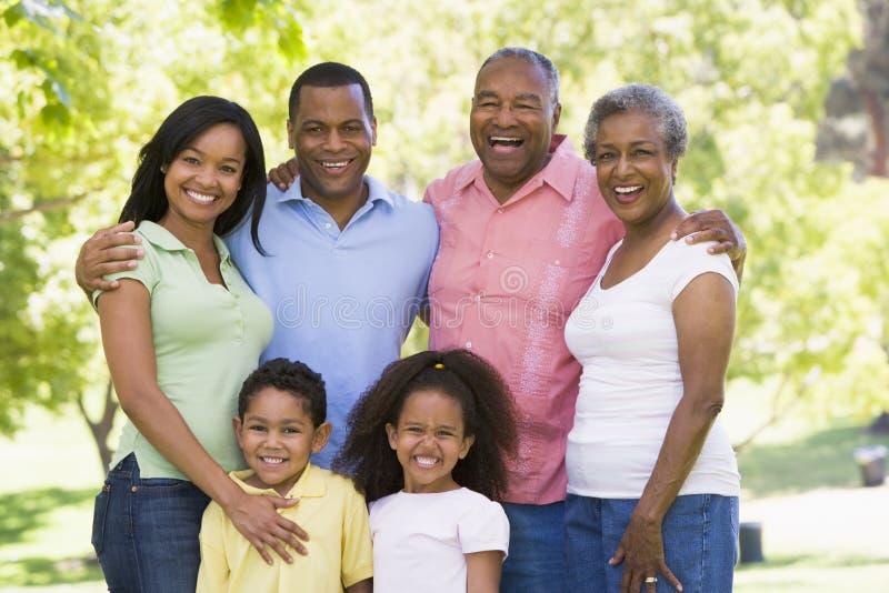 Famiglia allargata che si leva in piedi nel sorridere della sosta immagine stock