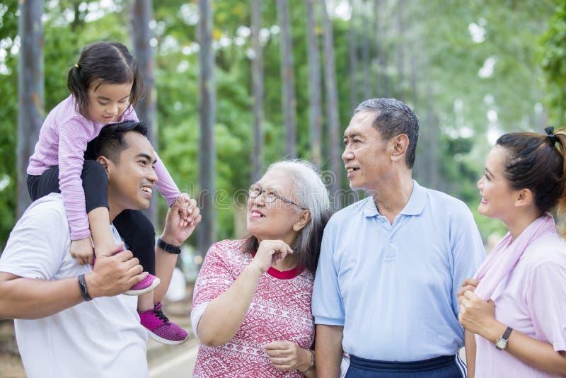 Famiglia allargata che si parla nel parco immagine stock libera da diritti