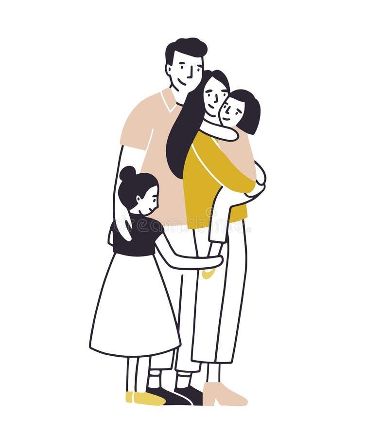 Famiglia amorosa Padre, madre e due figlie stanti insieme e stringenti a sé Abbracciare dei bambini e dei genitori piano royalty illustrazione gratis