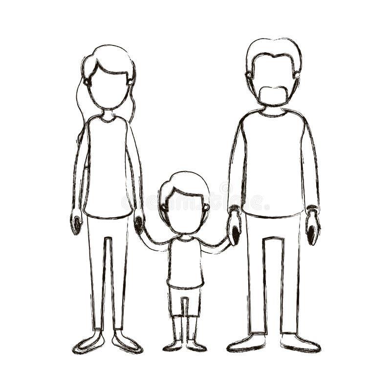 Famiglia anonima vaga di caricatura della siluetta con i genitori e le mani prese ragazzino royalty illustrazione gratis