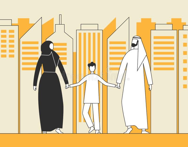 Famiglia araba tradizionale, uomo musulmano, donna e bambino camminanti sui precedenti dei grattacieli della città Illustrazione  royalty illustrazione gratis