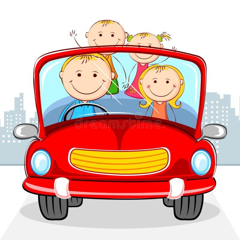 Famiglia in automobile illustrazione vettoriale