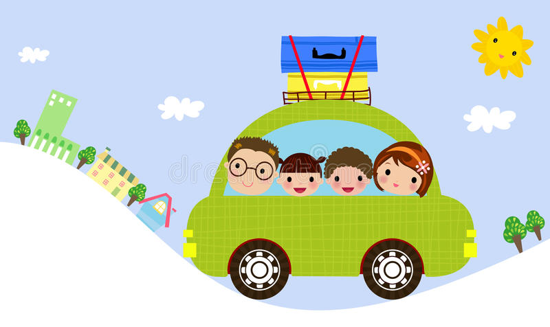 Famiglia in automobile royalty illustrazione gratis