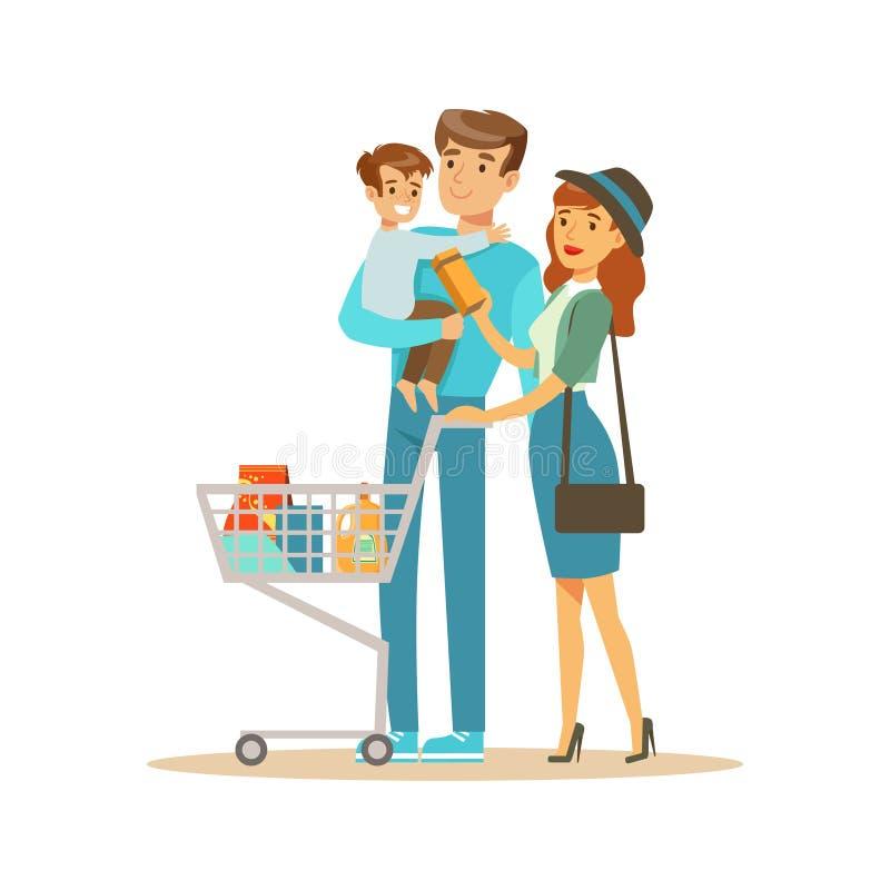 Famiglia bianca con acquisto nel grande magazzino, cose d'acquisto del carretto del personaggio dei cartoni animati nel negozio illustrazione di stock
