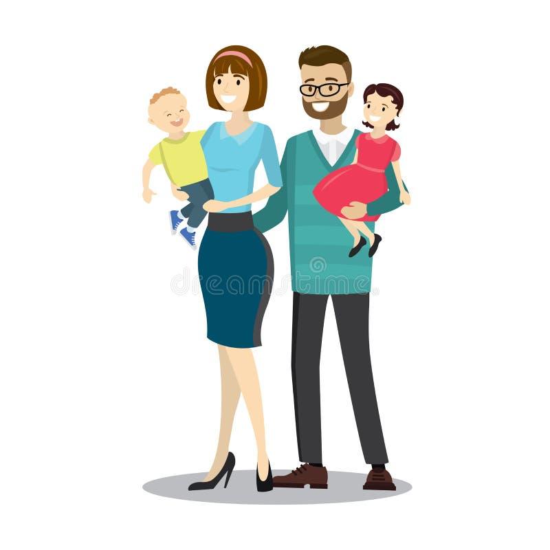 Famiglia caucasica felice illustrazione di stock