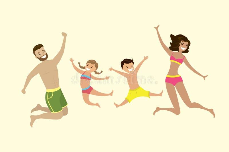 Famiglia caucasica felice che salta in costumi da bagno illustrazione vettoriale