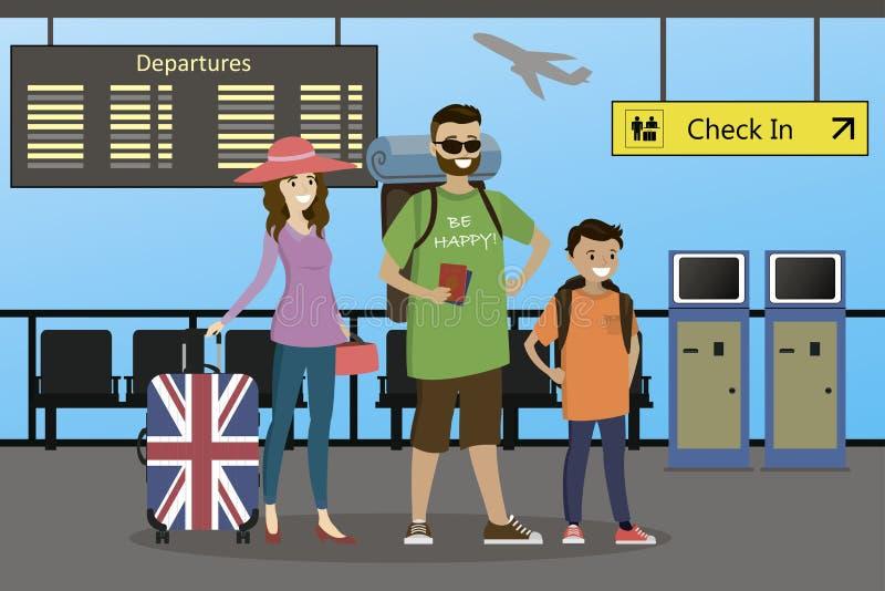 Famiglia caucasica felice dei viaggiatori con le valigie e gli zainhi royalty illustrazione gratis