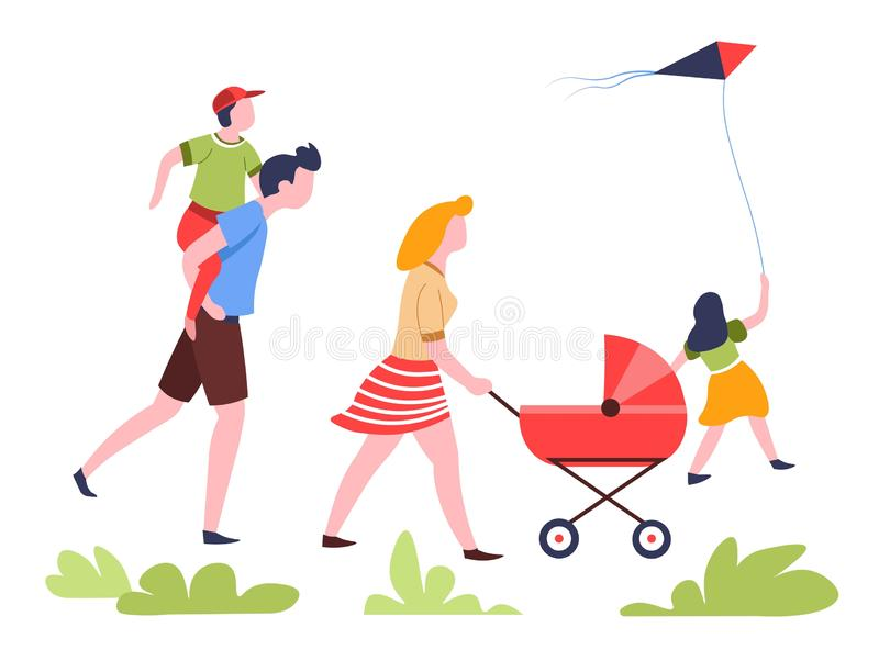Famiglia che cammina nel fine settimana di attività all'aperto di estate del parco royalty illustrazione gratis