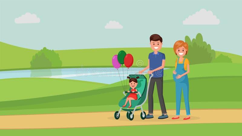 Famiglia che cammina nel parco illustrazione di stock