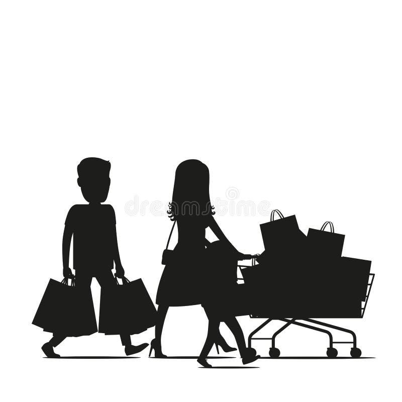 Famiglia che fa vettore della siluetta degli acquisti illustrazione di stock