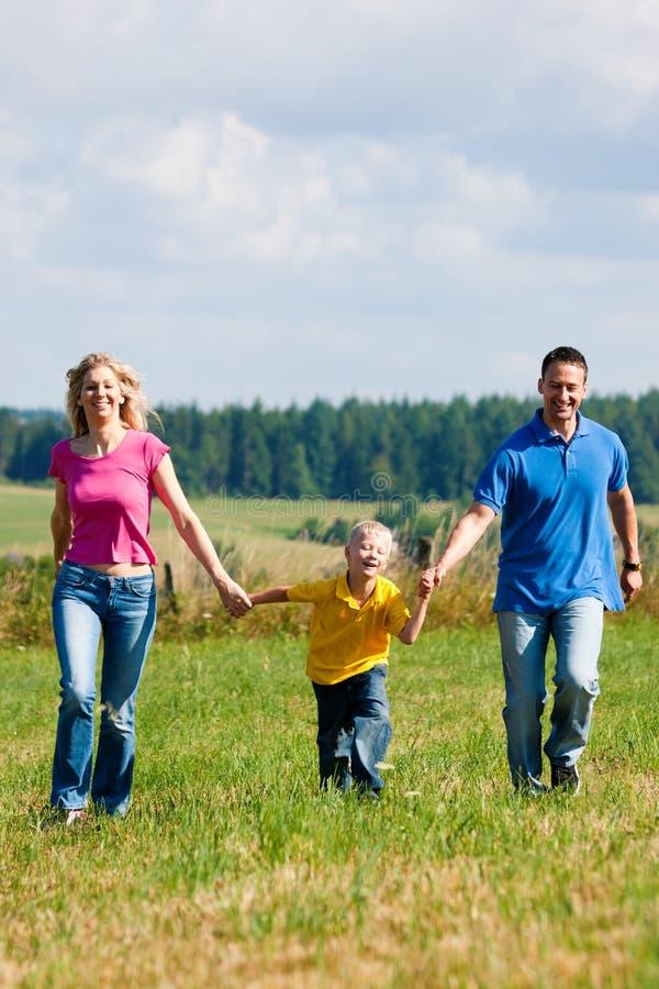 Famiglia che funziona sul prato in estate immagini stock libere da diritti