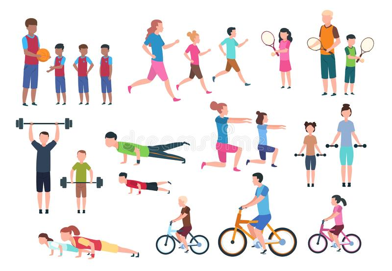 Famiglia che gioca gli sport Forma fisica della gente che si esercita e che pareggia Vettore attivo dei personaggi dei cartoni an royalty illustrazione gratis