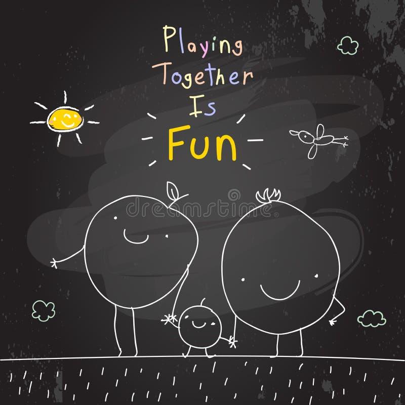 Famiglia che gioca insieme illustrazione di stock
