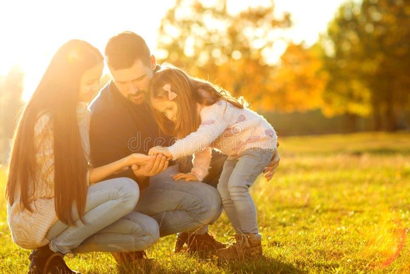 Famiglia che gioca nel divertiresi del parco di autunno fotografie stock libere da diritti
