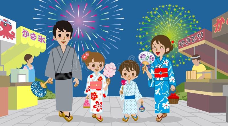 Famiglia che gode dell'esposizione giapponese del fuoco d'artificio illustrazione di stock