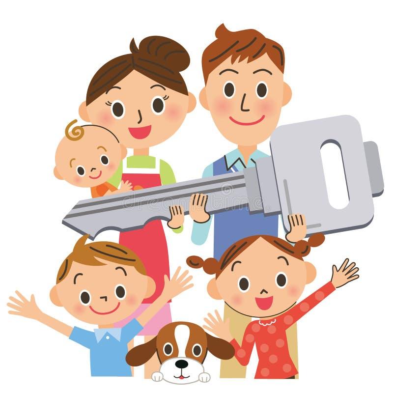 Famiglia che ha la chiave da alloggiare illustrazione vettoriale